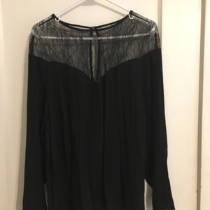 NEW H&M lace yolk top, long-sleeved, black, 22W